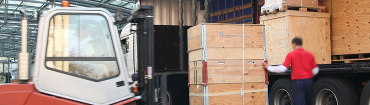 Worker loading boxes in warehouse